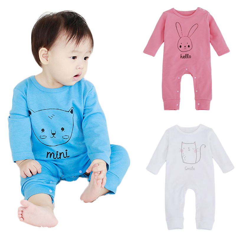 2018new Cotton Baby Girls Boys Long Sleeve Romper Jumpsuit One-pieces Cartoon Bunny/Bear/Kitty Bebe Infant Jumpersuit Outfits