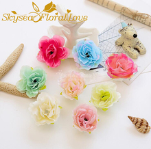 Artificial flowers head hibiscus for hat shoes headdress weath wedding decor DIY silk fake flowers head(China)