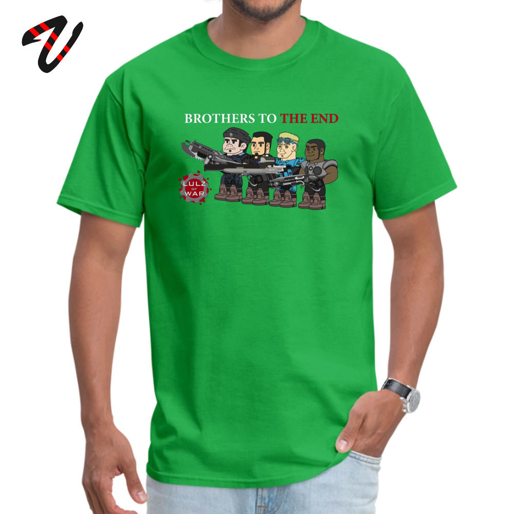 Plain Men T-Shirt Crewneck Short Sleeve Cotton Casual Tops Shirts Unique Top T-shirts Top Quality Lulz Of War Brothers to the end 684 green
