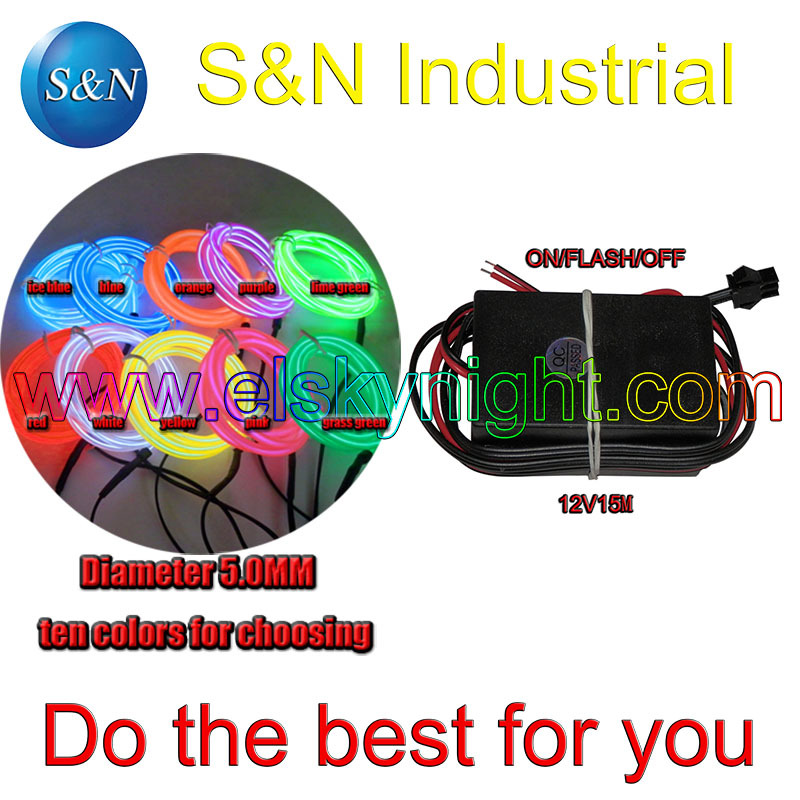 Ten color 5.0MM 10 M Flexible el Wire Tube Neon Light &12VDC inverter for holiday,party, ...