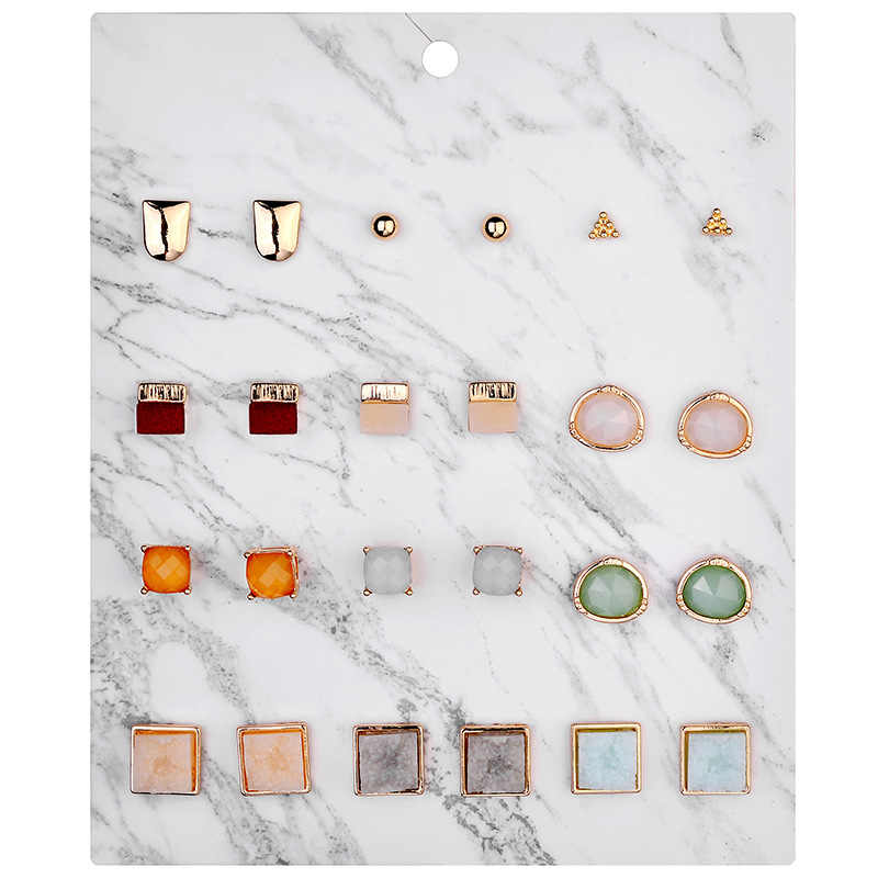 Fashion Jewelry 12 pairs/pack Druzy Resin Stone Earrings Set Mini Square Stud Earrings for Women