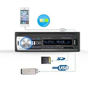 Image 1 - 1 unidad de autorradio estéreo Bluetooth para coche 1 din 60Wx4 admite llamadas manos libres, receptor de Radio para coche, reproductor MP3/USB/tarjeta SD/AUX/Radio FM