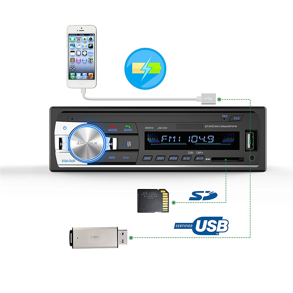 1PC Car Stereo Bluetooth Autoradio 1 din 60Wx4 Support Hands free calls Car Radio Receiver MP3 Player/USB/SD Card/AUX/FM Radio-in Car Radios from Automobiles & Motorcycles