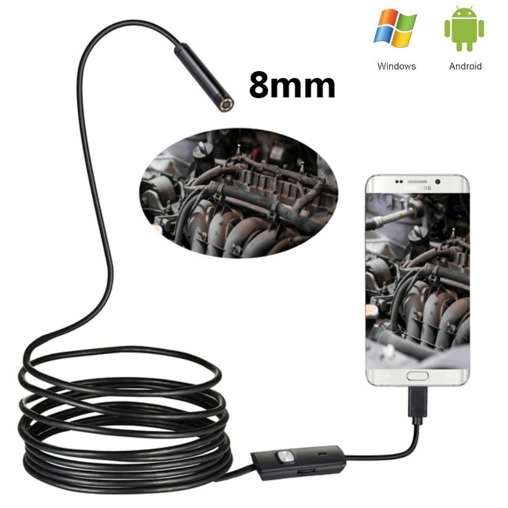 10pc 8mm 1m/2m Lens Endoscope 480P USB OTG  HD Snake Endoscope Waterproof Inspection Pipe Camera Borescope For Android Phone