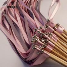 50 шт./партия Серебристая и розовая палочка для свадебной ленты с серебряным колокольчиком для свадебного украшения