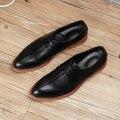 Nuevo 2017 de los hombres punta estrecha oxfords zapatos con cordones de cuero genuino italiano pisos transpirable zapatos de negocios vestido más el tamaño: 37-44