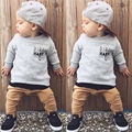 Autumn Toddler Baby Boys Cool Kids Gray Letter Print Sweatshirt Tops+ Khaki Long Pants 2pcs/Set Clothes Outfits Gentleman Set 21