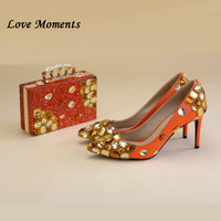 Love Moments Womens real leather Pumps fashion 8cm pointed toe Orange Wedding shoes with matching bags woman Ladies Heel shoes