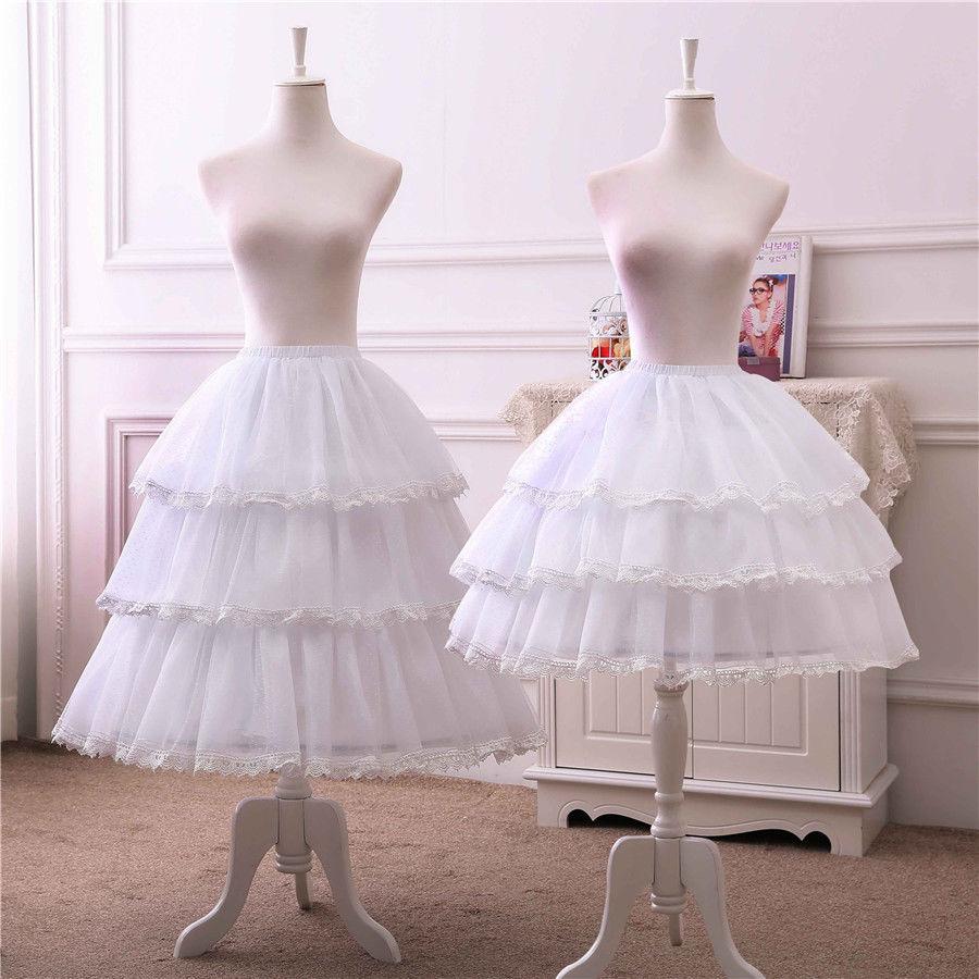 Lolita Women Adjustable Length White Chiffon Skirt A line Long Petticoat Bustle Pannier Crinoline