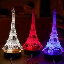 3D Creative USB Tower Desk Table Night Light Bedroom Touch Sensor LED Lamp