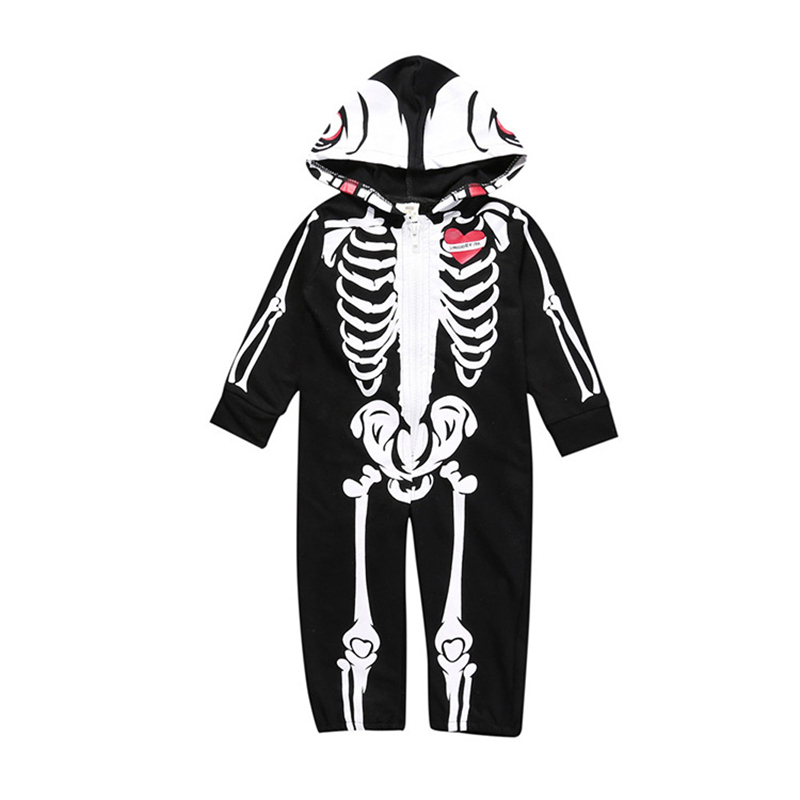 Baby Rompers Loog Sleeve Spring Cotton Hooded Infant Jumpsuit Novelty Baby Boys Girls Clothes Cosplay Costume Human Skeleton