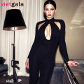 Metgala 2016 new fashion women sexy hollow out full long sleeves black autumn bandage jumpsuits dropshipping wholesale HL671