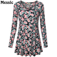 Messic 2016 New Fashion Women Tops Long Sleeve A Line T Shirt Loose Casual Autumn Tee