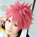 FREE SHIPPING Anime Fairy Tail Natsu Dragneel 35cm Short Pink Cosplay Wig Costume Heat  Resistant + Free Wig Cap Free Shipping