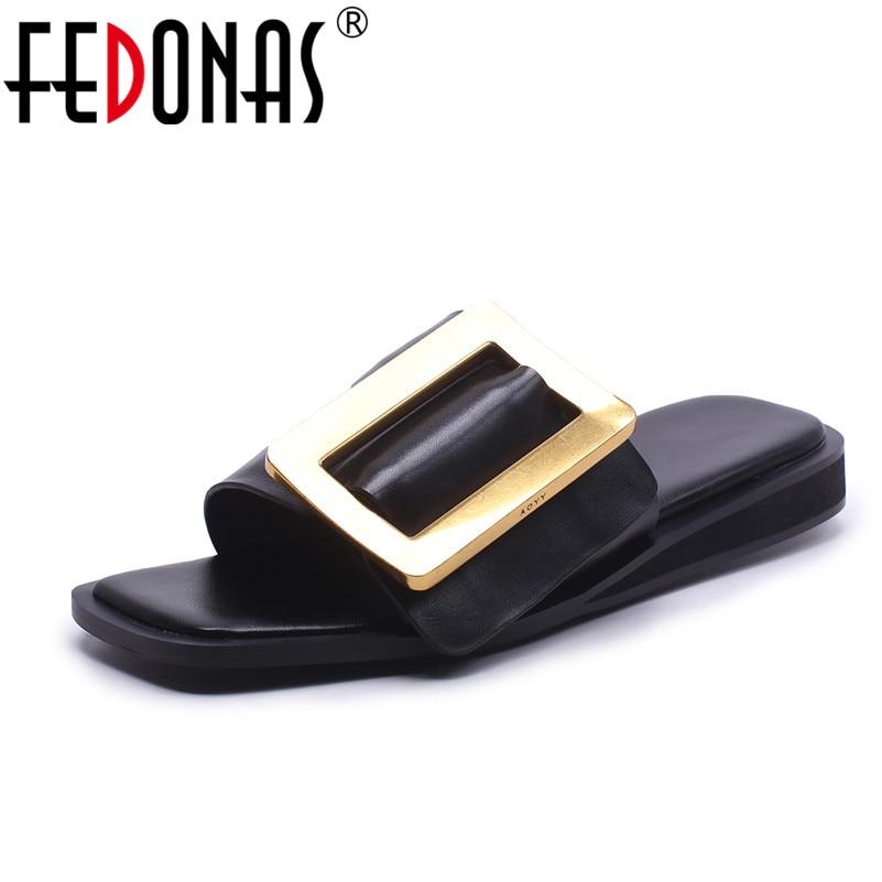FEDONAS Women Sandals High Heels 2020 New Genuine Leather Summer Fashion Buckle Female Gladiator Sandals Comfortable