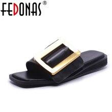 FEDONAS Women Sandals High Heels 2018 New Genuine Leather Su