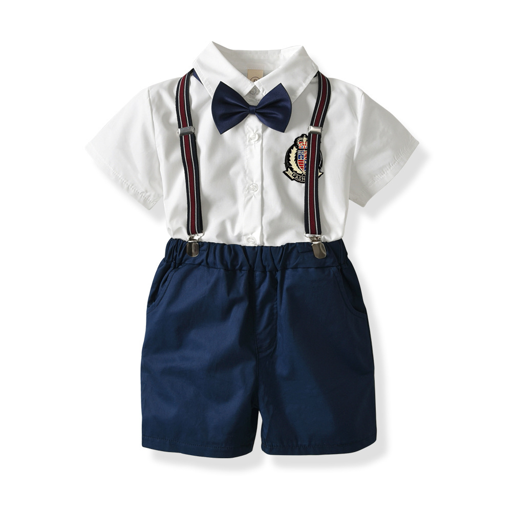 2018 Fashion Baby Boy Shorts Set With Bow Ties Blue Overalls+Gentleman Turn-down Collar White Shirt Summer Baby Boy Clothes Cute