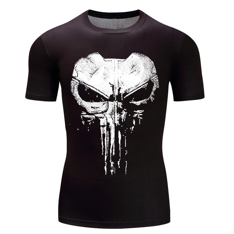 Compression Tshirt Punisher 3D Print Skull Funny   T     Shirts   Homme Fitness   Shirt   Men Rash guard Slim Fit Body Tees Plus Size XXXL