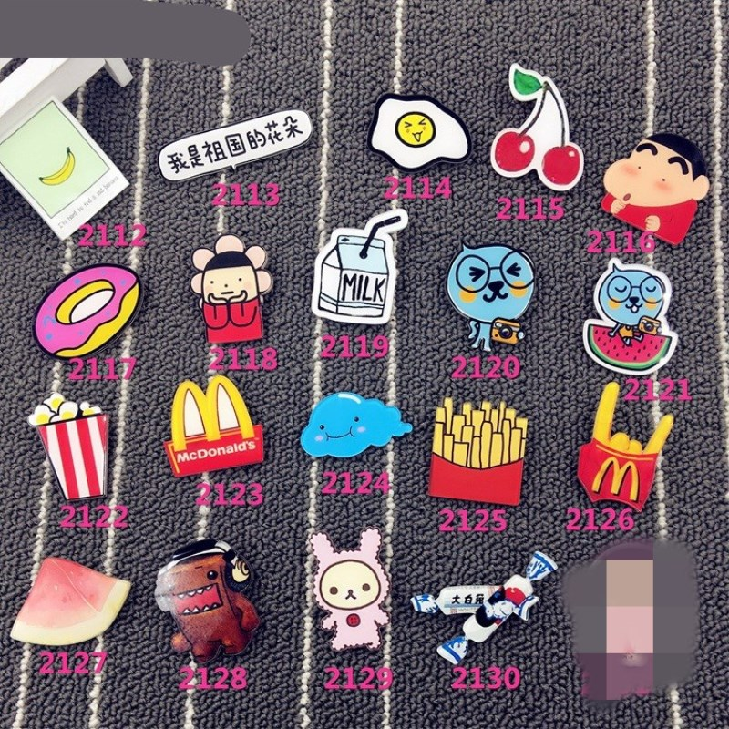 1 PC Cartoon Popcorn Cherry Child Shape Brooch Badges For Clothing Icons On Backpack Pin Acrylic Badges Brooches For Clothes