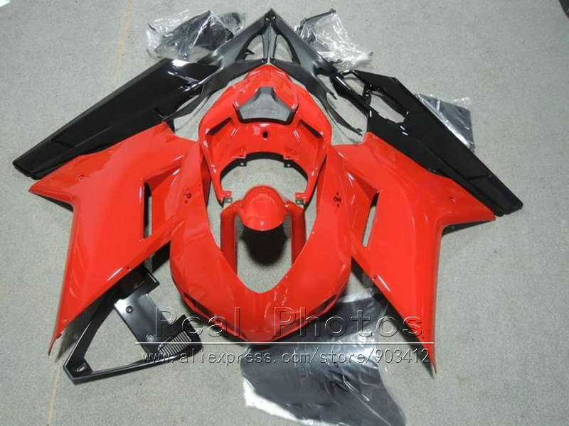 Free customize fairings for Ducati 848 1098 07 08 09 10 11 dark red black motorcycle