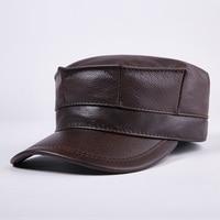 Men's 100% Genuine Leather Hat High Quality Genuine Leather Flat Warm Hat Peak Leisure Hats for Women Men's Caps B 7202