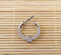 2015 New Surgical Steel CZ Clicker Small Hoop Septum Jewelry Nose Ring Body Piercing Jewelry Wholesale