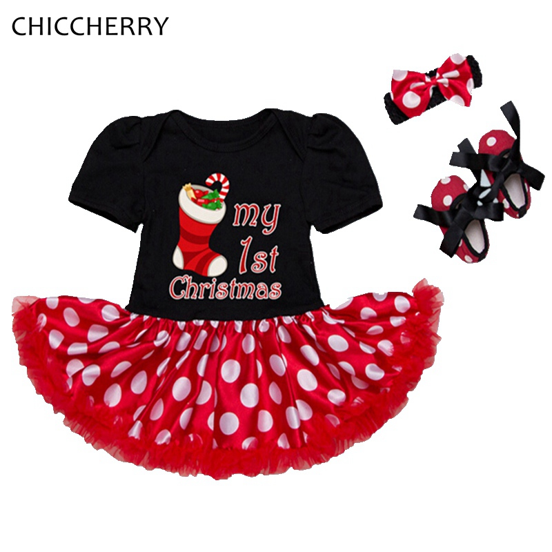 My First Christmas Costume Gift Lace Romper Dress Headband Crib Shoes Newborn Clothing Infant Clothes Baby Girl Christmas Outfit