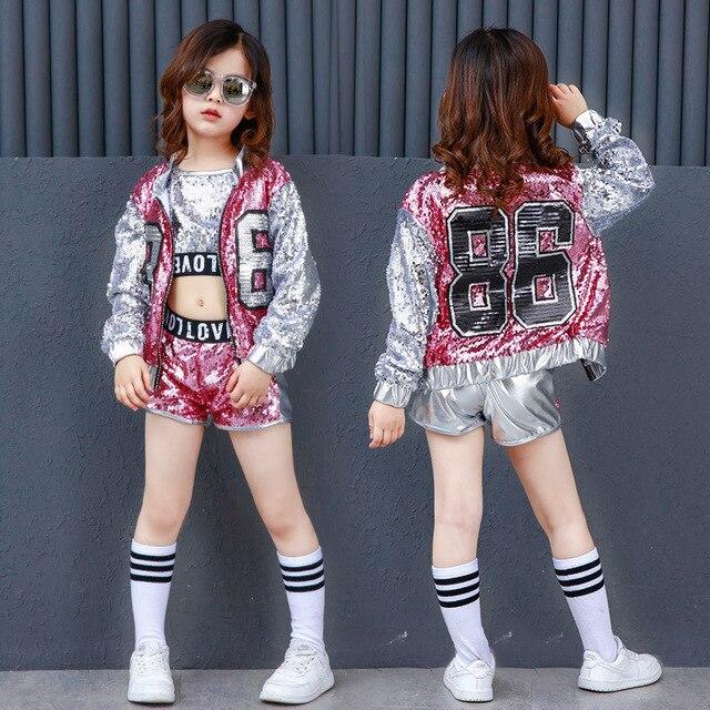 Одежда для девочек в стиле хип хоп с блестками, детские пальто, топы, рубашка, короткий костюм для джазовых танцев, одежда для бальных танцев, уличная одежда для детей