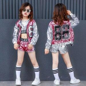 Image 1 - Girls Sequin Hip Hop Clothes for Kids Coat Tops Shirt Short Jazz Dance Costume Ballroom Dancing Clothing Streetwear for Children