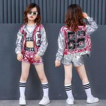 Ropa de Hip Hop de lentejuelas para niñas, abrigo, Tops, camisa, traje de baile de Jazz corto, Ropa de baile de salón, ropa de calle para niños