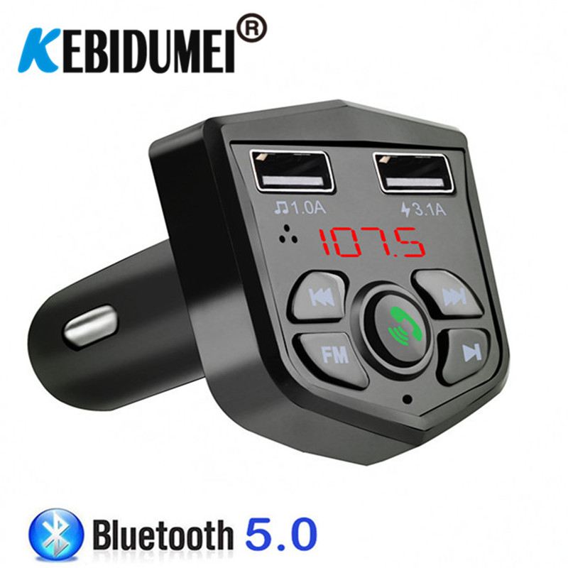 3.1A Dual USB Charger Bluetooth FM Transmitter Handsfree Car Kit Wireless MP3 Audio Receiver U-Disk TF Card Reading Music Device