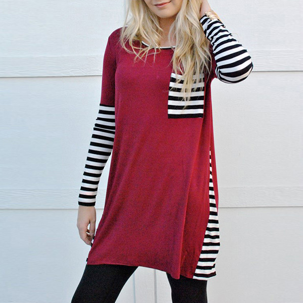 Women Stylish Loose Fit Charming T-Shirt Striped Long Sleeve Pocket Splicing Hollow O-Neck Crewneck Top Tee Black/Red/Khaki