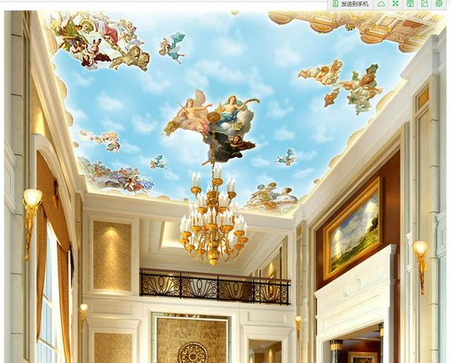 European Style Medieval Ceiling Wall Decoration Painting Home Decoration 3d  Ceiling Murals Wallpaper
