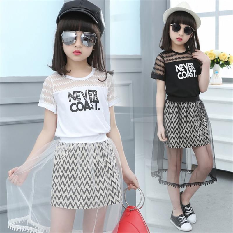 Girls Clothing Sets Summer 2018 Letter Printing T-shirts+Mesh dress Kids Children Clothes Casual Sport 2pcs Set Teenage Costume kids dress set for girls dress shirts 2pcs sets clothes set for big teenager clothing girls princess dress h92