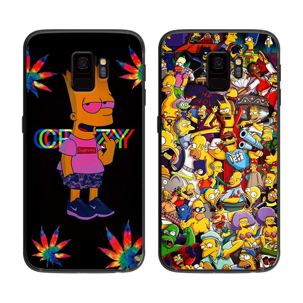 黄色いたずらに hinsons ソフト電話カバーケース三星銀河 S6 S7 S8 S9 S10e プラス注 8 9 黒シリコーンケース s