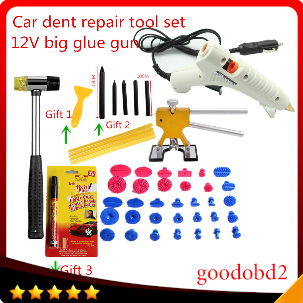 Car PDR Tools Dent Removal Paintless Dent Repair Tools Dent Puller Hand Tools set Automotive Door Ding repair with 12V glue gun whdz pdr auto body paintless dent removal repair tools kits bridge puller 2in1slide hammer glue puller automotive door ding dent