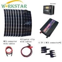 8 шт. 100 Вт гибкие солнечные панели с 2000 инвертор 30A контроллер быстрое подключение кабели аварийного 800 солнечный Мощность системы комплект