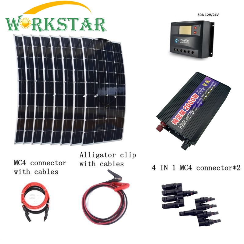 8 PCs 2000 W paneles solares flexibles con 100 W inversor 30A controlador de conexión rápida Cables de emergencia 800 W Kit de sistema de energía Solar
