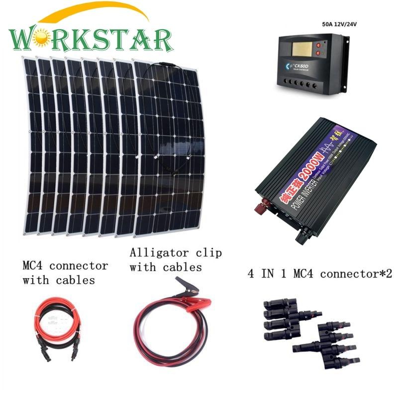 8 pz 100 W Pannelli Solari Flessibili con 2000 W Inverter 30A Regolatore di Cavi di Collegamento Rapido Di Emergenza 800 W Solare Sistema di alimentazione Kit