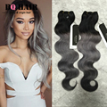 BQ HAIR Gray Ombre Hair Extensions 3 Bundles New 3 Pcs 8A Human Virgin Ombre Brazilian Hair Body Wave Grey Hair Weave