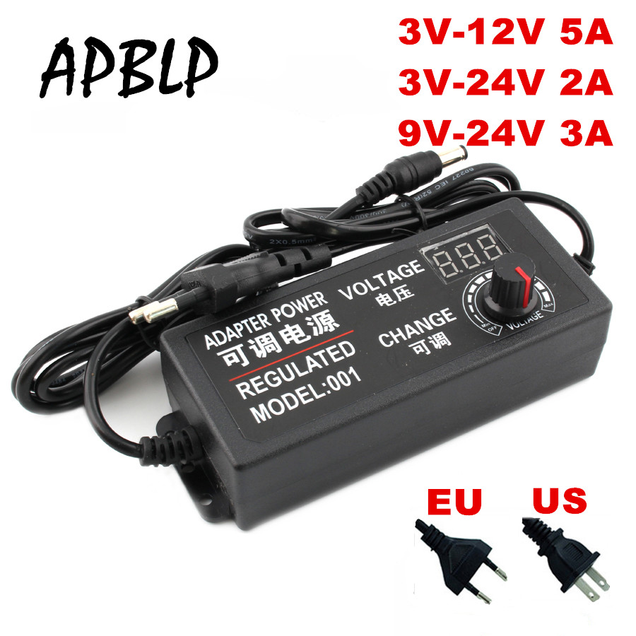 Ac ajustável ao adaptador universal da c.c. 3 v-12 v 3 v-24 v 9 v-24 v com adaptador regulado da fonte de alimentação da tensão da tela da tela 3 12 24 v