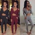 Fashion Women Long Sleeve V-neck Suit Midriff Off Shoulder Short Blouse Legging Pants Two Pieces/Set