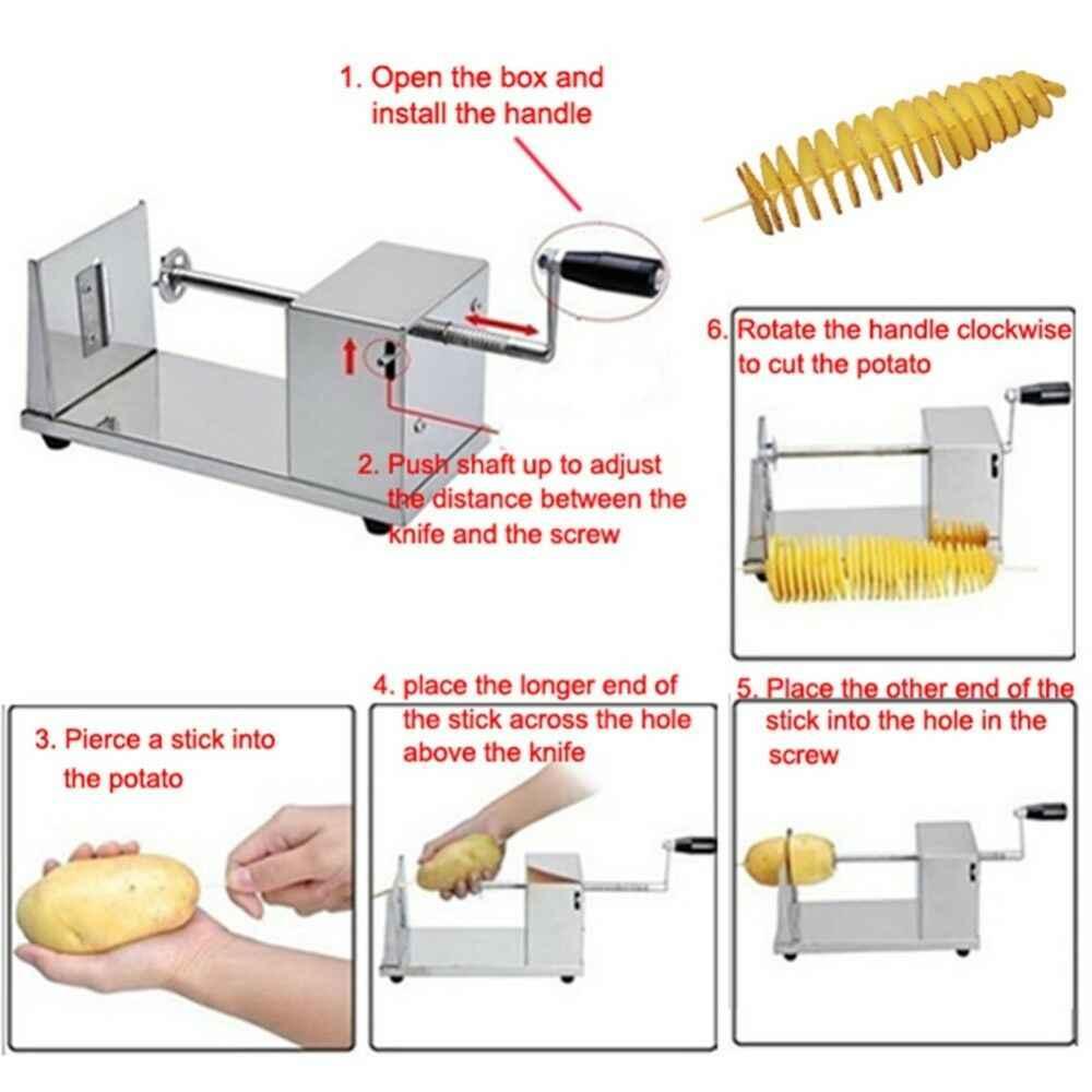 Новый ручной из нержавеющей стали спиральный картофельный измельчитель для картофеля башня кухонный инструмент фрукты и инструмент для овощей Терка для картофеля дома