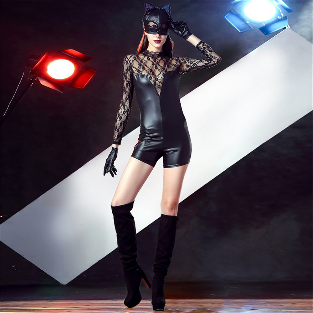 <font><b>Catwoman</b></font> cosplay <font><b>sexy</b></font> women lace artificial leather nightclub wear DS clothing pole dance <font><b>costumes</b></font> patent leather jumpsuit image