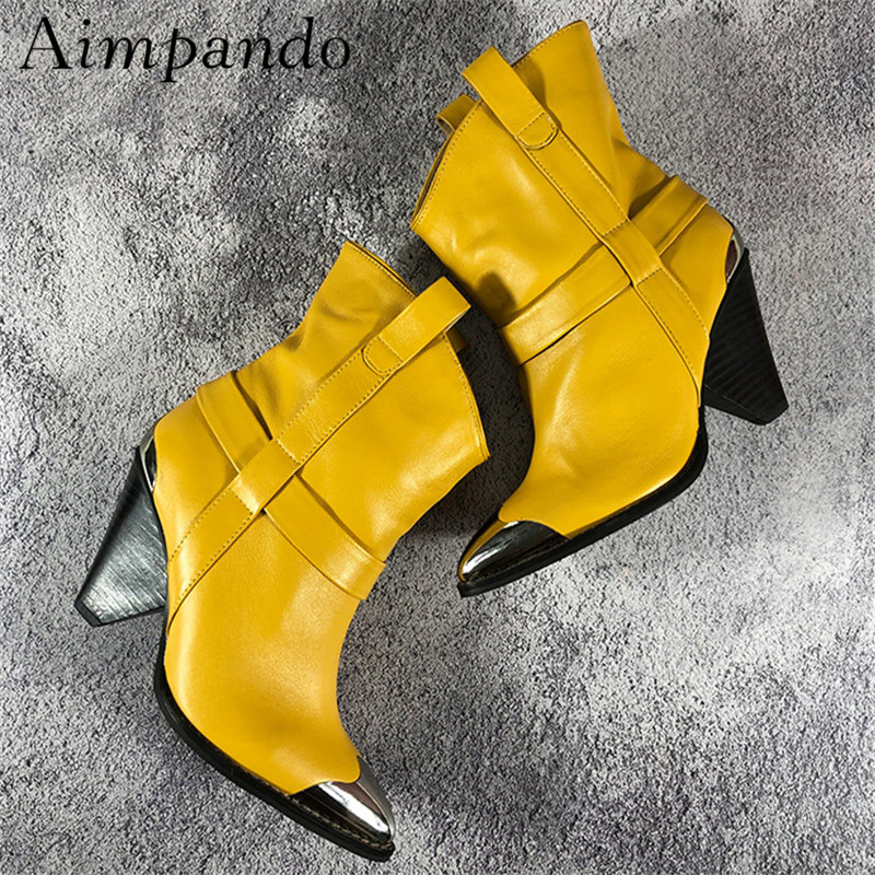 black Mujer Black Heel Moda Spike Genuino Decoración Cuero Pista Etapa white Rivet Botas Remache De yellow Martin Punta 7OZBZ
