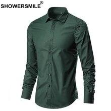 SHOWERSMILE Men Shirt In Green Cheap Cotton Shirts