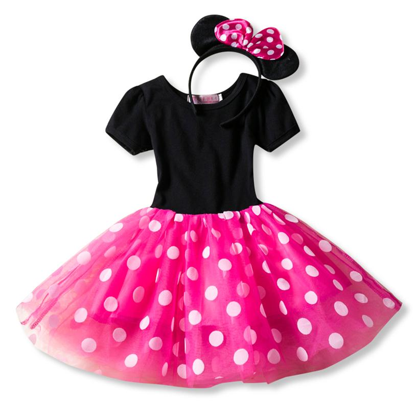 Dot Kids Dresses for Girls Halloween Cosplay Minnie Mouse Dress for Girls Clothing Vestidos Girl Tutu Dress with Headband Wear