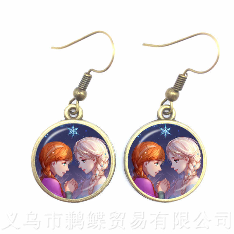 2018 New Fashion Women's Earrings Jewelry Glass Cabochon Princess Anna Snow Queen Drop Earrings For Women Girls