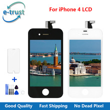 e-trust Mobile Phone Parts Replacement For iphone 4 LCD Display Touch Screen Assembly With Frame + Tempered Glass + Repair Tools