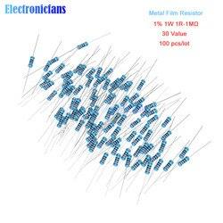 100pcs/lot Metal Film Resistor 1% 1W 1R 4.7R 10R 100R 220R 1K 2.2K 4.7K 6.8K 10K 22K 47K 100K 470K 1MΩ Ohm Resistance 1R-1MΩ